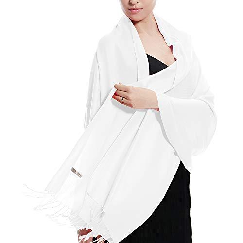 TZ Promise Pashmina Wedding Large Soft Plain Shawl/Wrap/Scarf for Women (White) (Wraps Shawls And White)