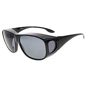 Eyekepper Oversize Polarized Bifocal Sunglasses Fitover Polycarbonate Polarised Lens Sunreaders To Wear Over Regular Glasses (Black/Grey Lenses, +3.00)