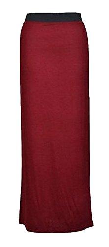 MIXLOT Mlanger lot de nouvelles dames gitanes plaine jupe maxi femmes  long jersey lastique longueur toutes les couleurs d't vtements de loisirs jupe taille 36-42 Le Vin