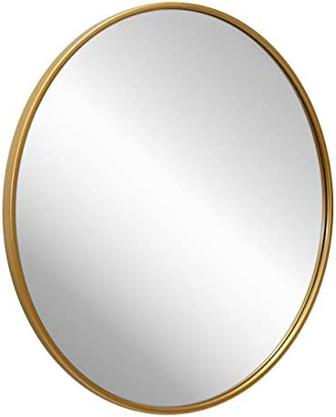 "Gold Circle Wall Mirror 24 Inch Round Wall Mirror for Entryways, Washrooms, Living Rooms and More (Gold, 24"")"