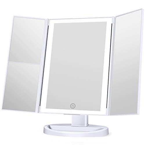 KOOLORBS New Version Makeup Mirror with lights, 3 Color Lighting Vanity Mirror, 1x 2x 3x Magnification, Touch Screen Switch, 180 Degree Rotation Rotation, Dual Power Supply, Portable Trifold Mirror