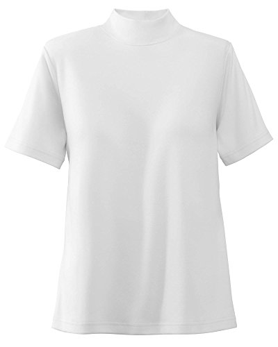 UltraSofts Cotton-Polyester Mock Top, White, Large ()