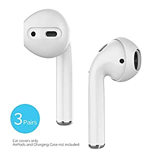 Delidigi 3 Pairs AirPods Ear Cover Ultra Thin Earbud Ear Tips [Charge in The Case] Compatible with Apple AirPods 2 & 1 or EarPods (White)