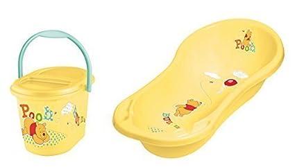 Juego de 2 Set Bañera XXL + Cubo de pañales Disney Winnie Pooh amarillo