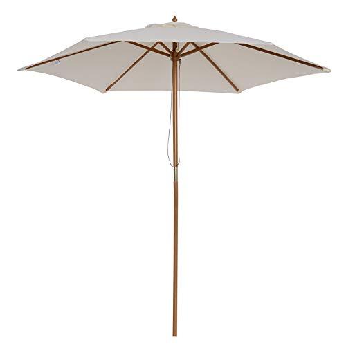 31q1 kDfwvL. SS500 ✅Sombrilla parasol con diseño elegante, ideal para crear una sombra fresca en verano calor, perfecta para colocar en jardín, patio, terraza, playa, etc. ✅Fácil de manejar: Se abre y cierre fácilmente y rápidamente por tirando la cuerda ✅Muy resistente: Hecho de tela de poliéster resistente al agua y rayos UV, con mástil de madera y 6 varillas que garantizan una gran estabilidad