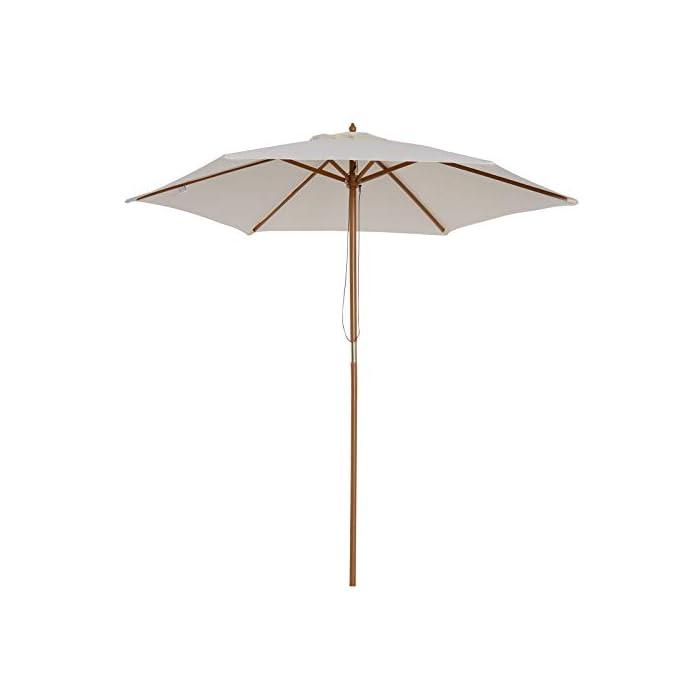 31q1 kDfwvL ✅Sombrilla parasol con diseño elegante, ideal para crear una sombra fresca en verano calor, perfecta para colocar en jardín, patio, terraza, playa, etc. ✅Fácil de manejar: Se abre y cierre fácilmente y rápidamente por tirando la cuerda ✅Muy resistente: Hecho de tela de poliéster resistente al agua y rayos UV, con mástil de madera y 6 varillas que garantizan una gran estabilidad