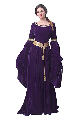 Womens Medieval Maxi Dress Renaissance Princess Girls Long Flared Sleeve Costume Irish Gothic Vintage Victorian Retro Gown (Small, Purple 1) -
