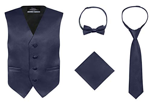 S.H. Churchill & Co. Boy's 4 Piece Vest Set, with Bow Tie, Neck Tie & Pocket Hankie, Navy Size 12