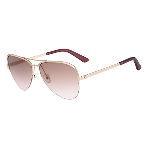 Calvin Klein Collection Womens Semi Rimless Aviator Sunglasses Pink - Calvin Klein Sunglasses Polarized