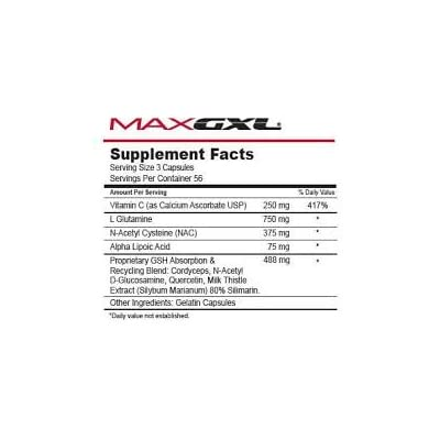 Image of Max GXL, Unique NAC Formula, 180 Vegetable Capsules, 30 Servings (Pack of 2) Health and Household