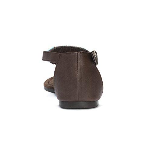 Muk LUKS Women's Zena Flat Sandal Dark Brown A2P6bI
