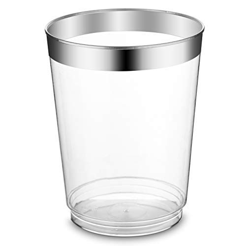- Silver Rimmed, Clear, Hard Plastic Tumbler Cups - 10 oz Pack of 50 - Safe, Durable, Disposable, Recyclable and Reusable - Good For Every Occasion and Multipurpose Usage - by JasWorld
