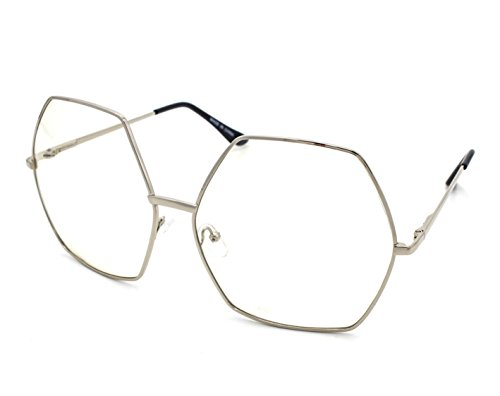 CY SUN OVERSIZED Clear Lens VINTAGE RETRO Style EYE GLASSES Huge XL Hexagon - Hexagon Frames Eyeglass