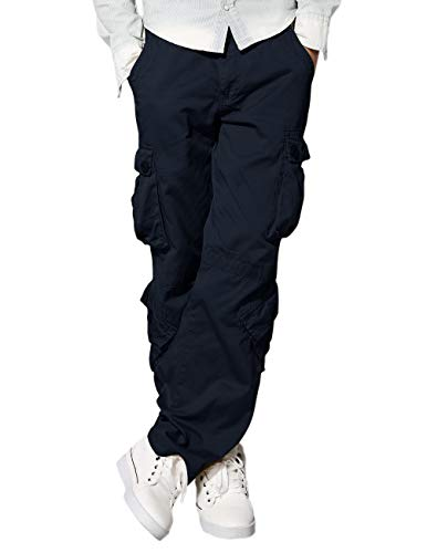 Cotton Cargo Pocket Pants - Match Men's Loose Fit Wild Cargo Pants(34,6068 Blue)
