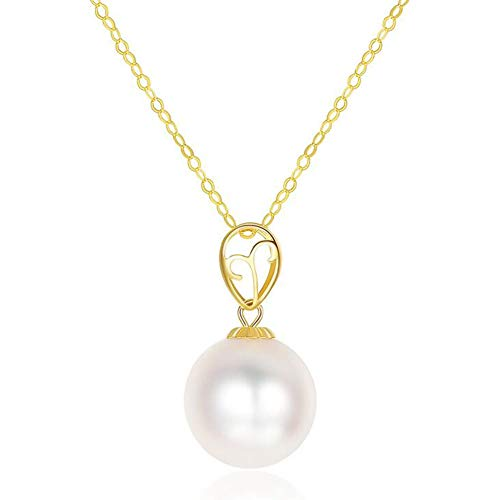 (Fashion Jewelry@ Quality Round Tahitian Black Pearl/White Akoya Pearl Necklace & Saltwater Pearl 18K Gold Pendant 8-9mm, a 18K Gold Chain is Included for Free,White)