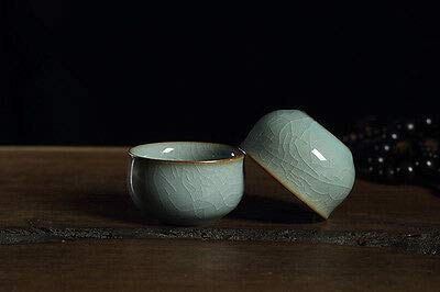 FidgetGear 2 Cups Crackle Glaze Porcelain Tea Cup Celadon Ceramic Cup for Tea 58ml Blue