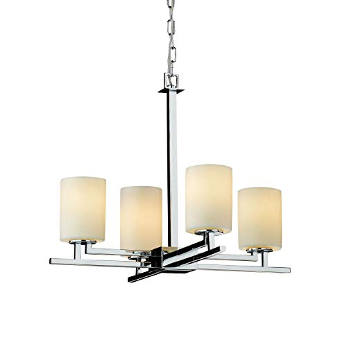 (Justice Design Group CandleAria 4-Light Chandelier - Polished Chrome Finish with Cream Faux Candle Resin Shade)