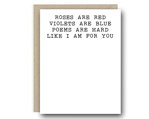 Funny Valentine From Him - Poems Are Hard Like I Am For You - Love Card, Card for Her