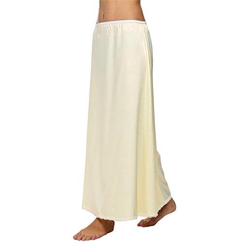 Orcan Bluce Women Satin Solid Lace Trim Maxi Half Slip Skirt Loose Elastic Waist White, Black, Beige for sale
