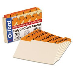Laminated Tab Index Card Guides, Daily, 1/5 Tab, Manila, 4 X 6, 31/set By: (Laminated Manila Index Card Guides)