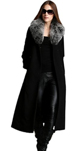 Escalier Women Belt Cashmere Wool Trench Long Coat with Fur Collar - Cashmere Belt Wool
