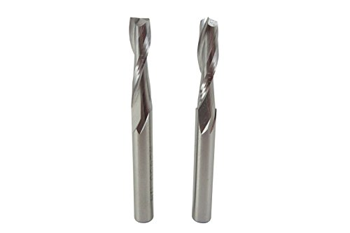 "Bundle Pair (2 each) Taytools 400051 1/4"" Upcut Double Flute Spiral Router Bits, 1"" Cutting Length, 1/4"" Shaft, Overall Length 2-1/2"" HSS"