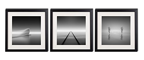 Peaceful Lake Wall Art Decor Posters For Living Room Abstract Black And White Photos Landscape Canvas Gieclee Prints Paintings 3 Piece Black Framed Printed Pictures With White Matte Office (Black And White Photo Framed)
