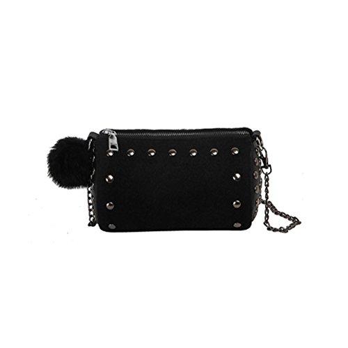 Mini bolso de mujer con un hombro Messenger bag de terciopelo ligero y simple BETY negro
