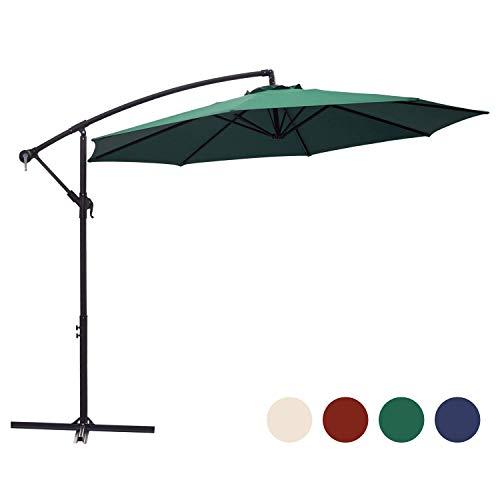 KINGYES 10ft Patio Offset Cantilever Umbrella Market Umbrellas Outdoor Umbrella with Crank & Cross Base for Garden, Deck,Backyard and Pool(Dark Green)