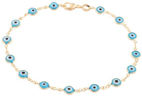 Gold Overlay with Light Blue Mini Evil Eye Style 10 Inch Anklet (T-323)