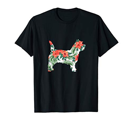 Cairn Terrier Silhouette - Cairn Terrier Aloha Dog Silhouette T-Shirt Red