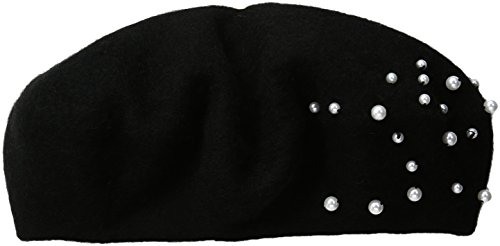 Collection XIIX Women's Flower Gem Beret Hat, Black, One Size