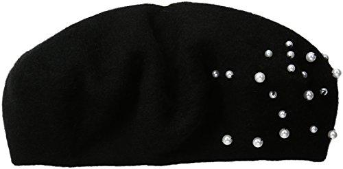 Collection XIIX Women's Flower Gem Beret Hat, Black, One Size