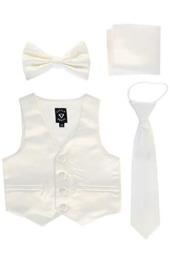Little Gents 738 Satin Vest w/Zipper Tie Bowtie & Hanky (Ivory, 12-18 Months)