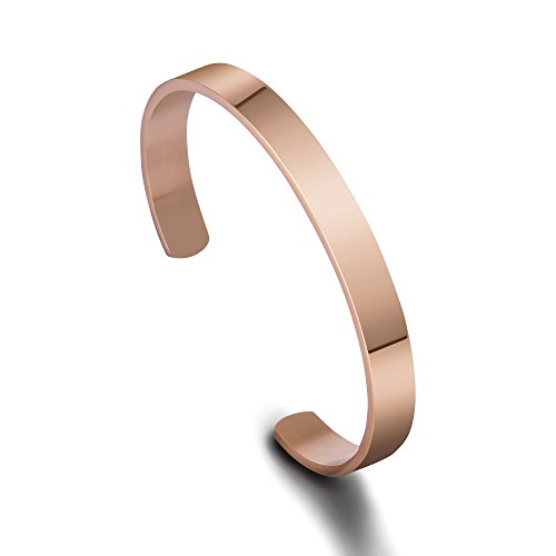 Stainless Steel Mirro Polished Cuff Bracelet (Rose Golden(No Engraving))