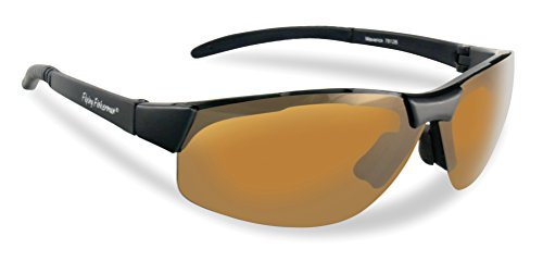 Flying Fisherman Maverick Polarized Sunglasses (Matte Black Frame, Amber - Full Lens Semi
