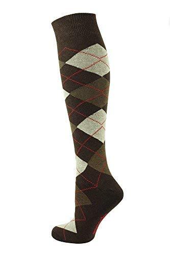 Mysocks Unisex Knee High Long Socks Argyle Brown Cream Red Line