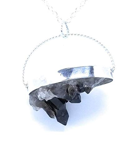 Smoky Quartz Cluster Natural Healing Crystal Sterling Silver Pendant Silver Necklace Semi Precious Gem Jewelry Root Base 1st Chakra Accessory Jewelry ()