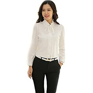 Mujer Camisas y blusas de mujer elegante Wild Ruff cuello chifón de color blanco camiseta de manga Puff OL (sólido), color Blanco - blanco, tamaño 2XL