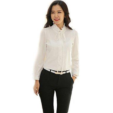 Mujer Camisas y blusas de mujer elegante Wild Ruff cuello chifón de color blanco camiseta de