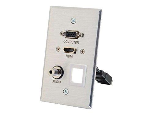 C2G 39705 HDMI, VGA, 3.5MM Audio Pass Through Single Gang Wall Plate with One Keystone, Aluminum