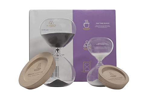 Zenus Creations Decorative Sand Clock and Hourglass Timer Gift Set  - 2-piece,  5 and 30 min  - Hand-Blown Sandglass Timers   with  Stand - Elegant ()