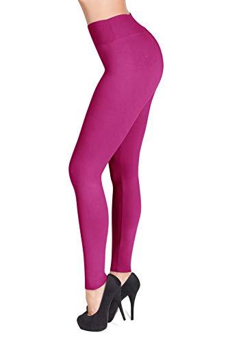 - SATINA High Waisted Leggings - 22 Colors - Super Soft Full Length Opaque Slim (One Size, Fuchsia)