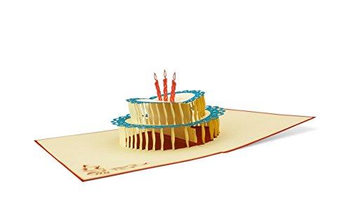 Geburtstagskarte edel und elegant I Glückwunschkarte I Karte zum Geburtstag I Geburtstagstorte mit Kerzen I Pop Up Karte 30 40 50 60
