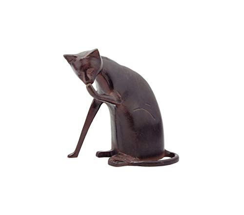 Аchlа Outdoor Garden Backyard Décor Designs Coy Cat Statue Sculpture Indoor Outdoor Art Decor, Dark Bronze