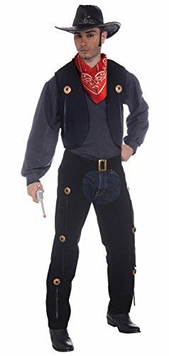 Forum Novelties Men's Wild West Cowboy Vest and Chaps Costume Set, Multi, One Size
