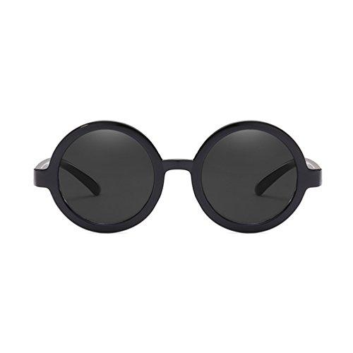 Armear Vintage Round Sunglasses for Women Men Mirrored Lens UV Protection (Black, - Circle Sunglasses 90s