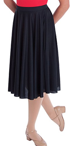 Adult Circle Skirt - Body Wrappers Character Dance Below-The-Knee Circle Skirt, Black, X-Large