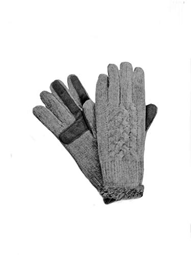 Isotoner Signature smarTouch Women's Chenille Cable Knit Gloves grey