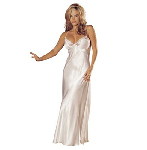moco BFF Women Satin Nightgown Lace Lingerie Trimmed Full Length Slip Dress Long Chemise Sleepwear Sexy Night (White)